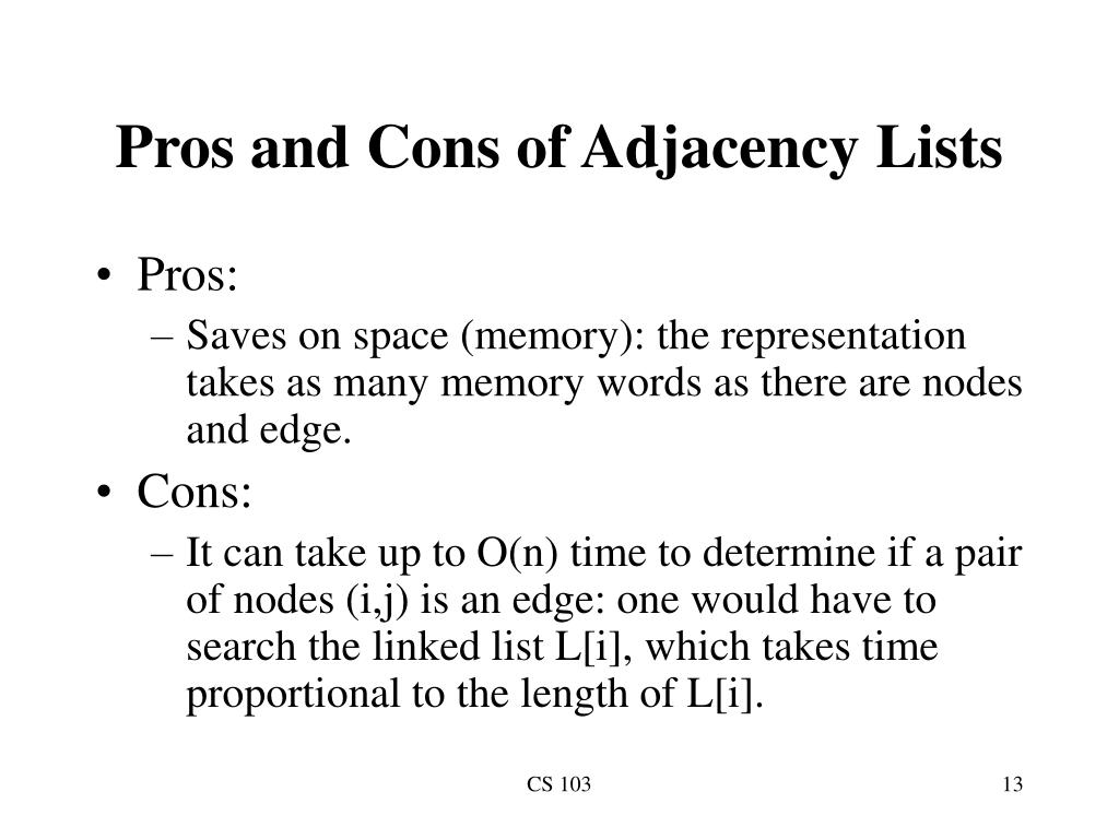 Pros and Cons of Adjacency Lists