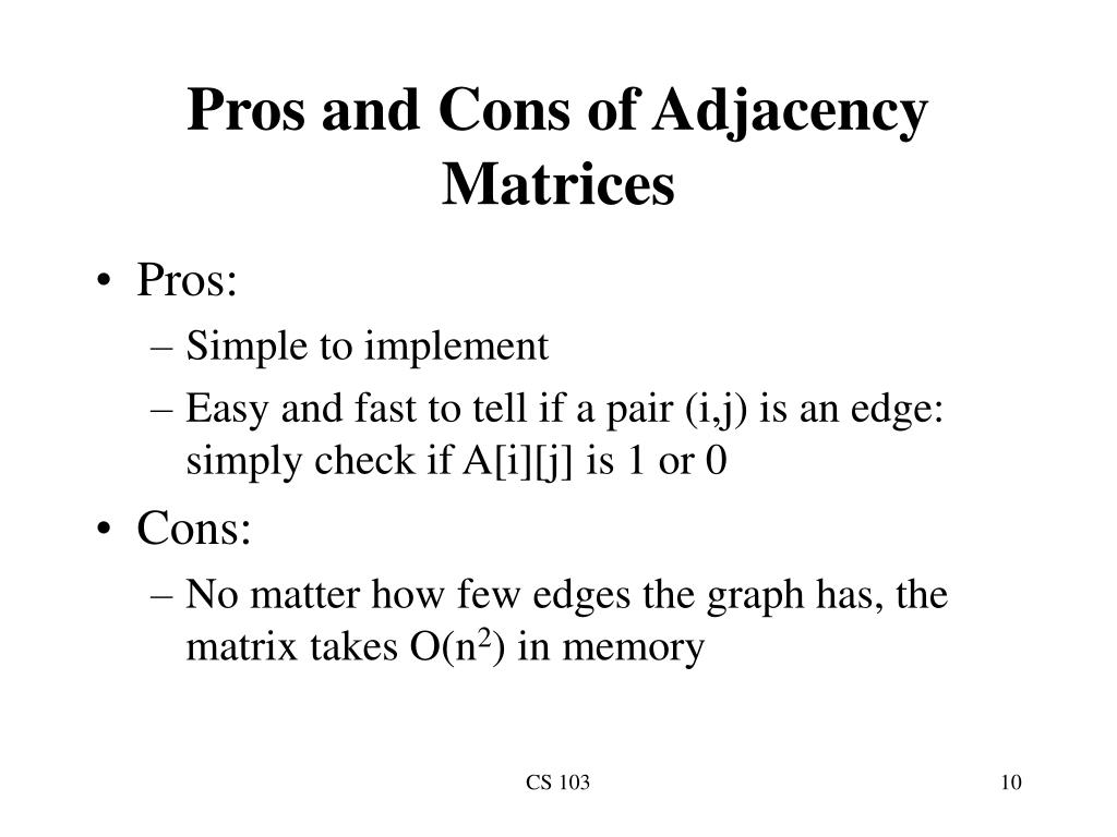 Pros and Cons of Adjacency Matrices