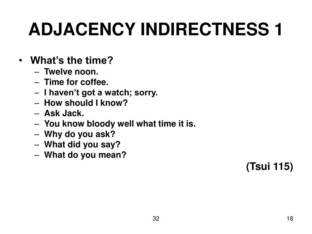 ADJACENCY INDIRECTNESS 1