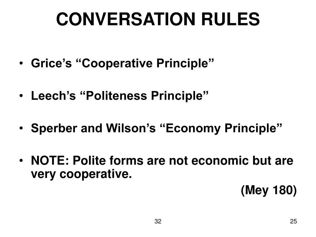 CONVERSATION RULES