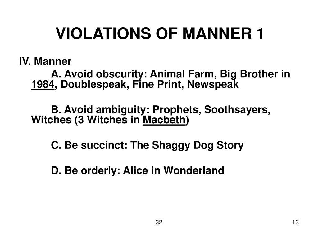 VIOLATIONS OF MANNER 1