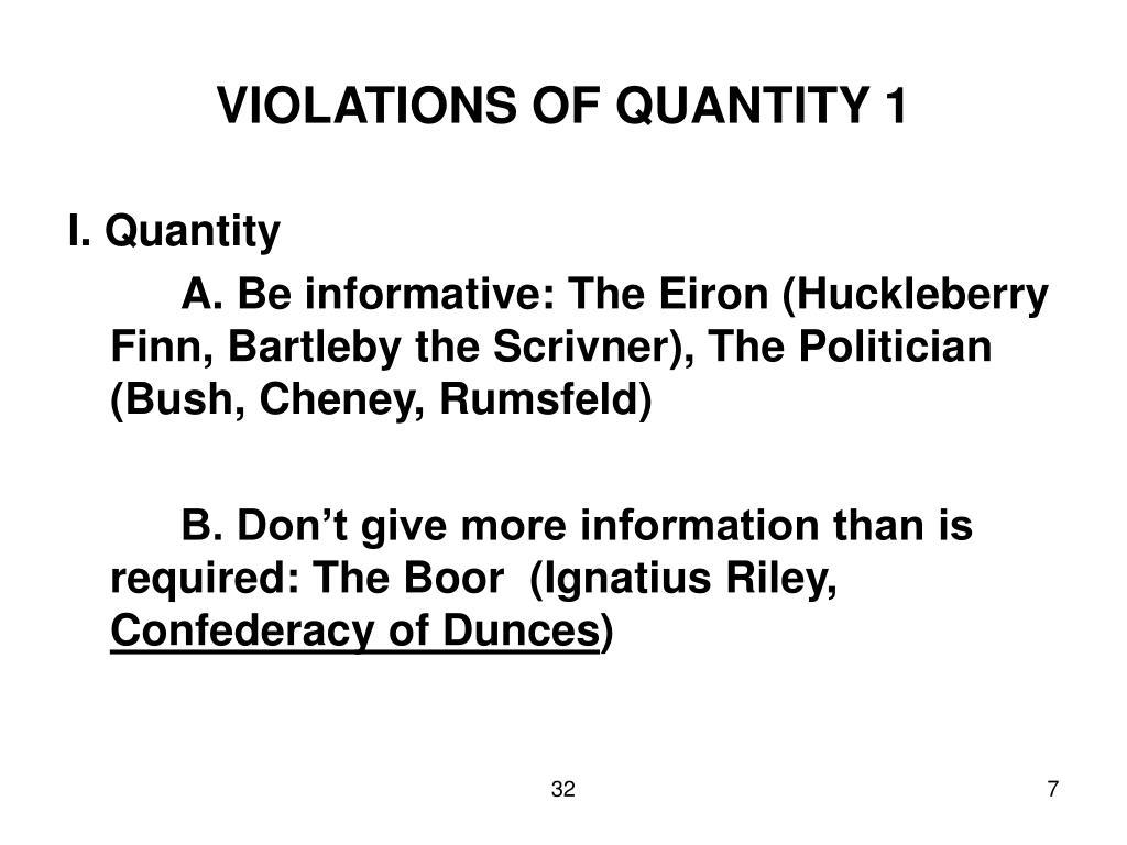 VIOLATIONS OF QUANTITY 1