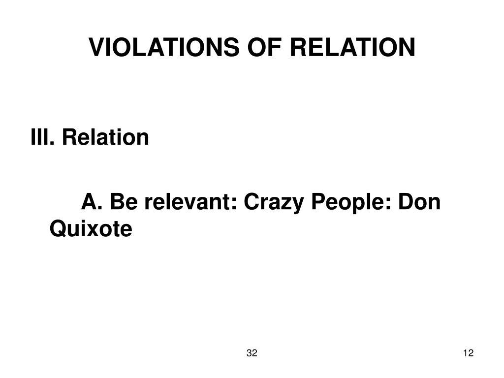 VIOLATIONS OF RELATION