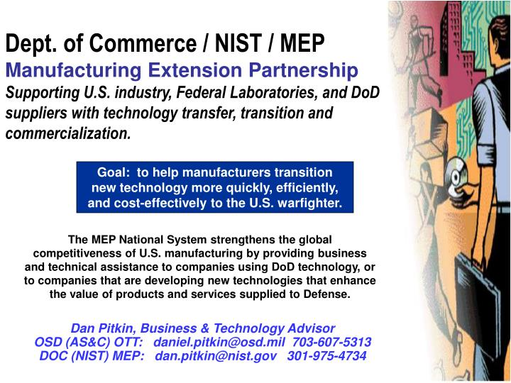 Dept. of Commerce / NIST / MEP