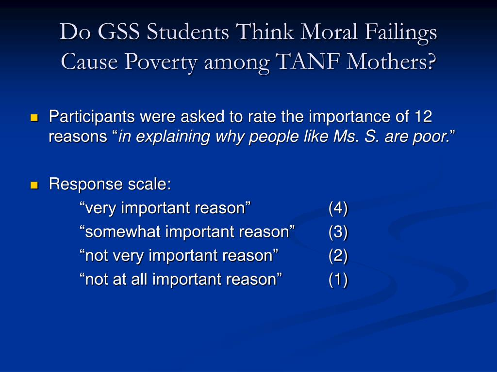 Do GSS Students Think Moral Failings Cause Poverty among TANF Mothers?