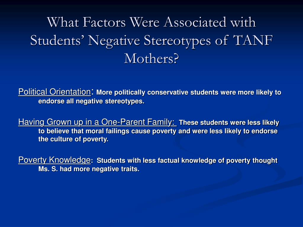 What Factors Were Associated with Students' Negative Stereotypes of TANF Mothers?