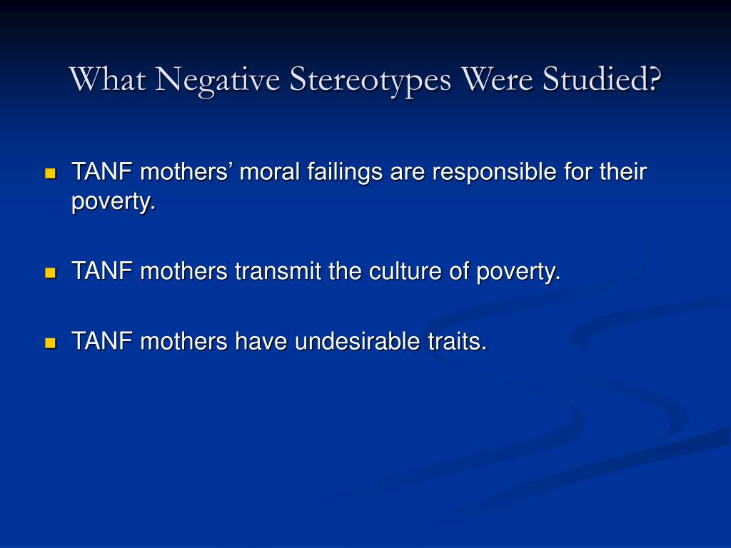 What Negative Stereotypes Were Studied?