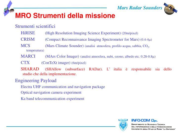MRO Strumenti della missione