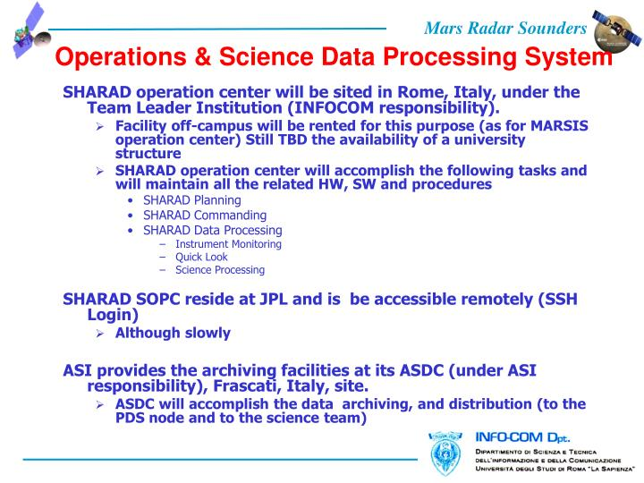 Operations & Science Data Processing System