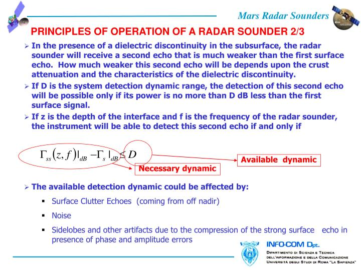 PRINCIPLES OF OPERATION OF A RADAR SOUNDER 2/3