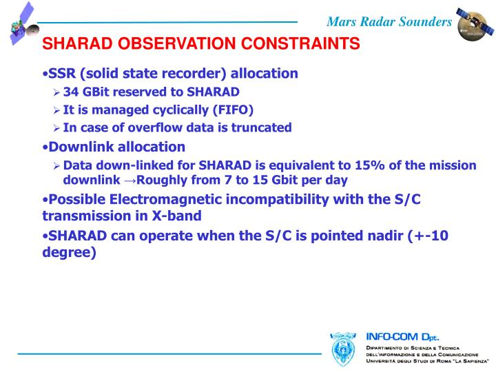 SHARAD OBSERVATION CONSTRAINTS