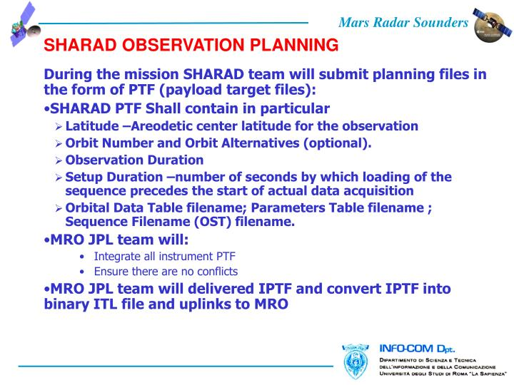 SHARAD OBSERVATION PLANNING