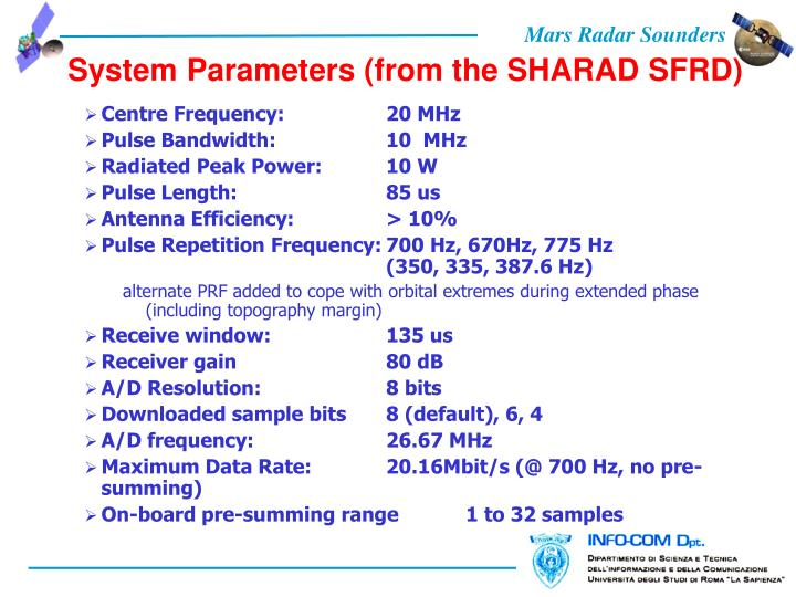 System Parameters (from the SHARAD SFRD)