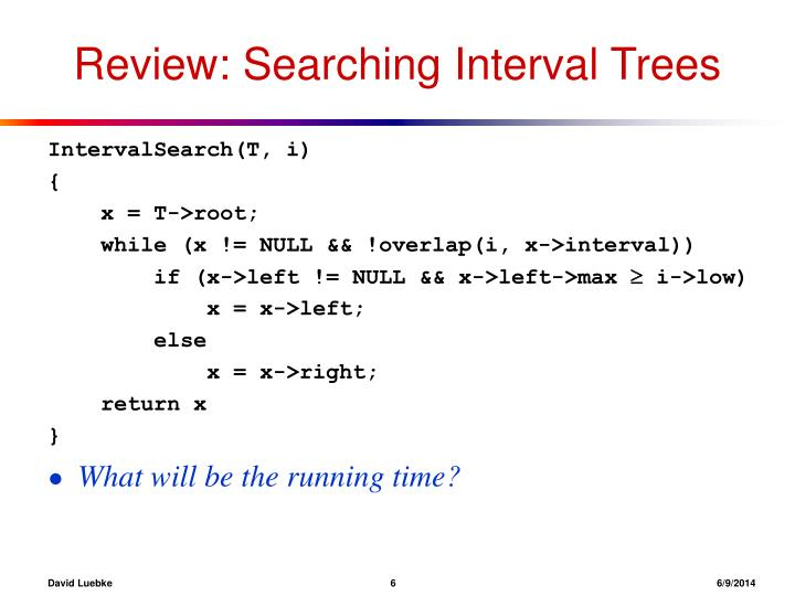 Review: Searching Interval Trees
