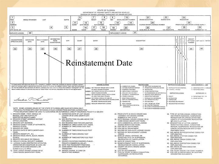 Reinstatement Date