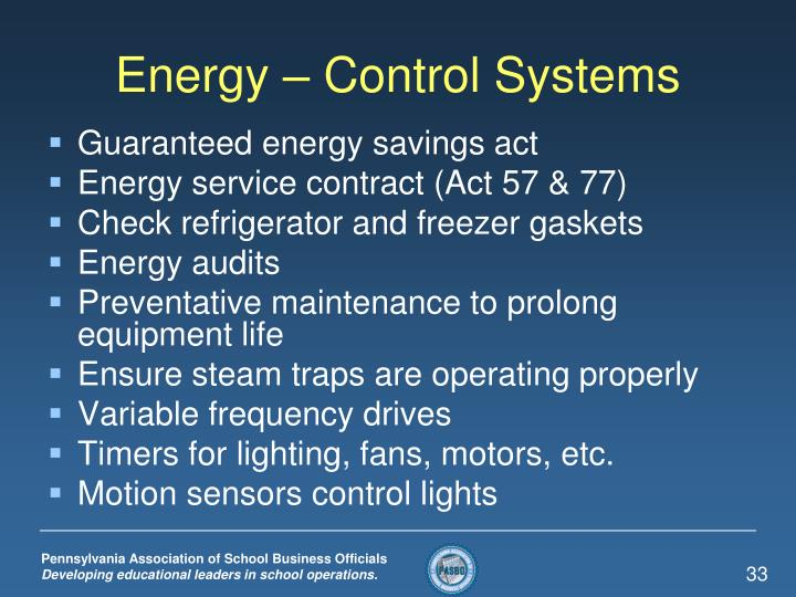 Energy – Control Systems