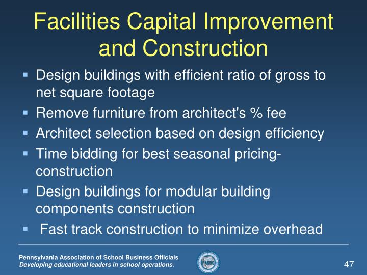 Facilities Capital Improvement and Construction