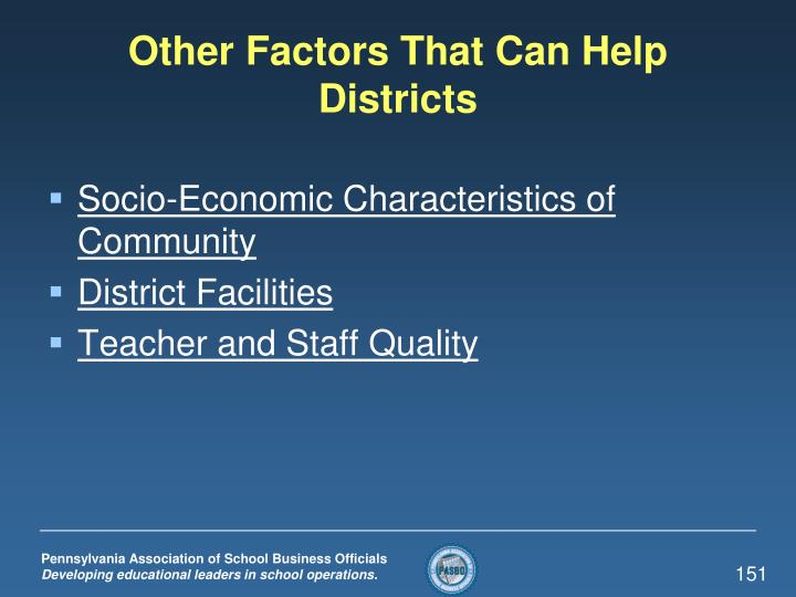 Other Factors That Can Help Districts