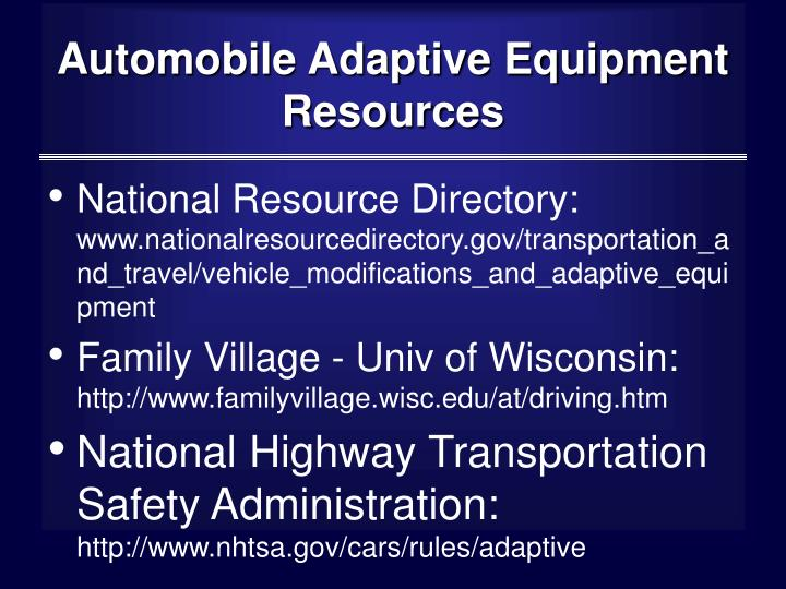 Automobile Adaptive Equipment Resources