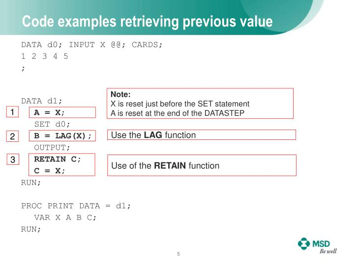 Code examples retrieving previous value