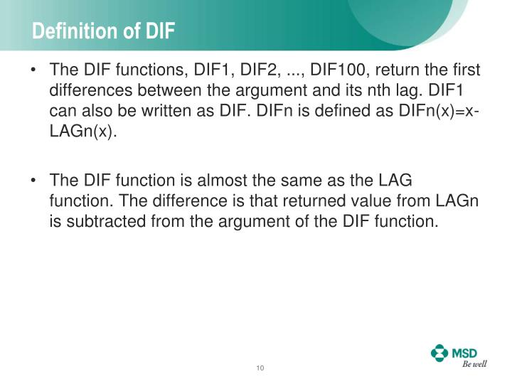 Definition of DIF
