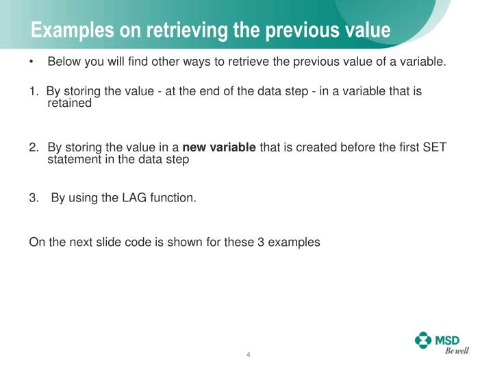 Examples on retrieving the previous value