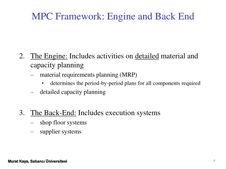 MPC Framework: Engine and Back End