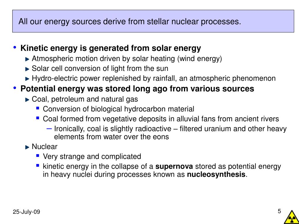 All our energy sources derive from stellar nuclear processes.