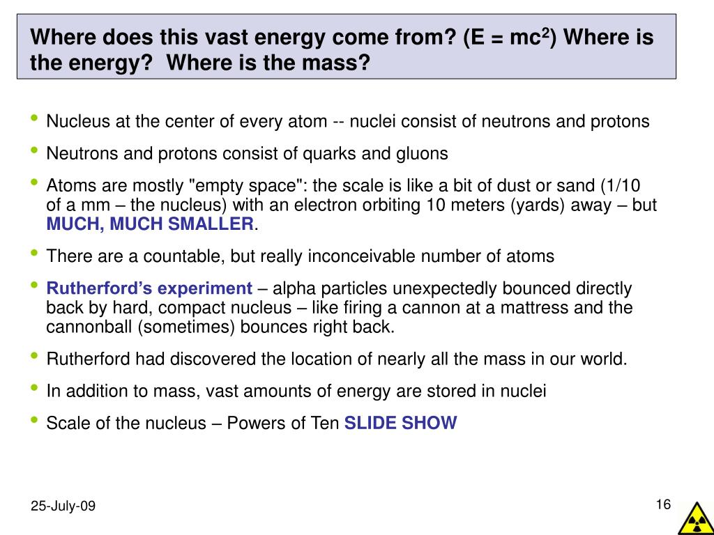 Where does this vast energy come from? (E = mc