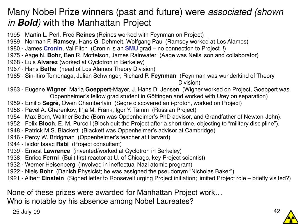 Many Nobel Prize winners (past and future) were