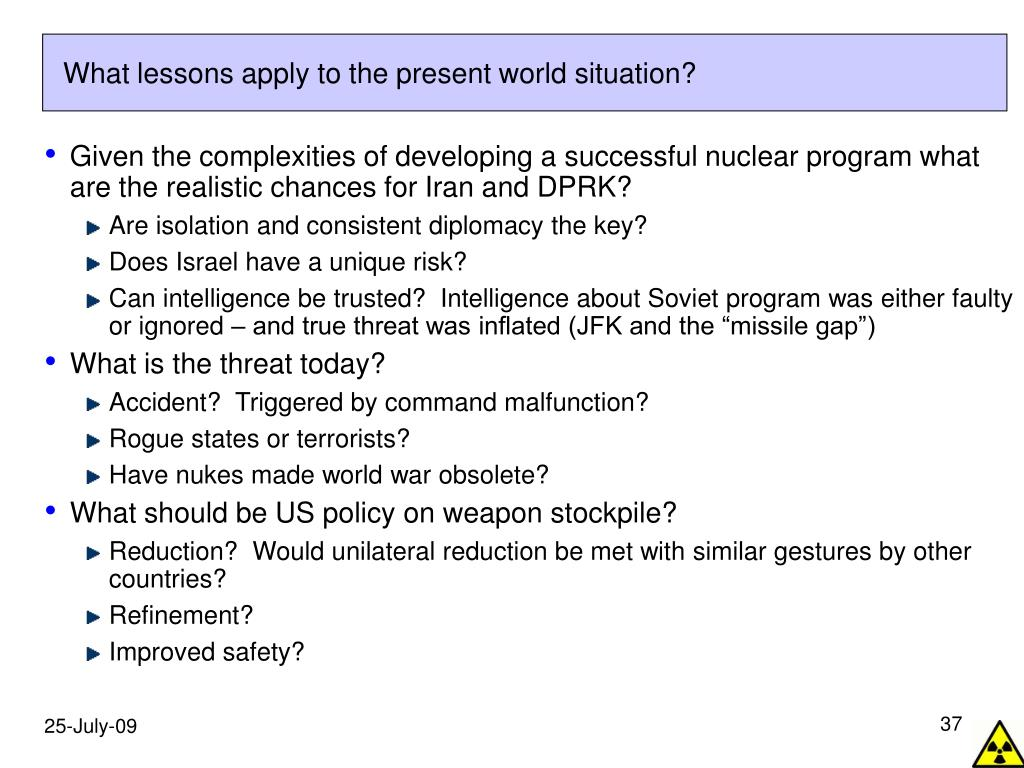 What lessons apply to the present world situation?