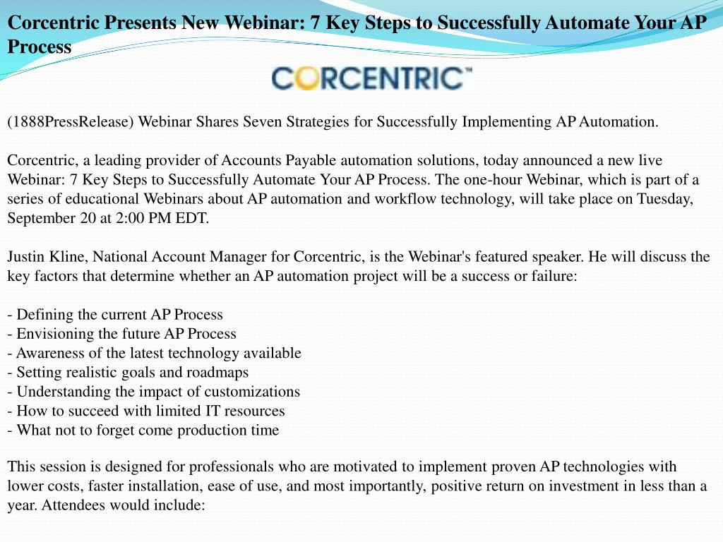 Corcentric Presents New Webinar: 7 Key Steps to Successfully Automate Your AP Process
