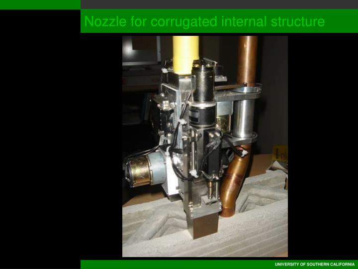 Nozzle for corrugated internal structure