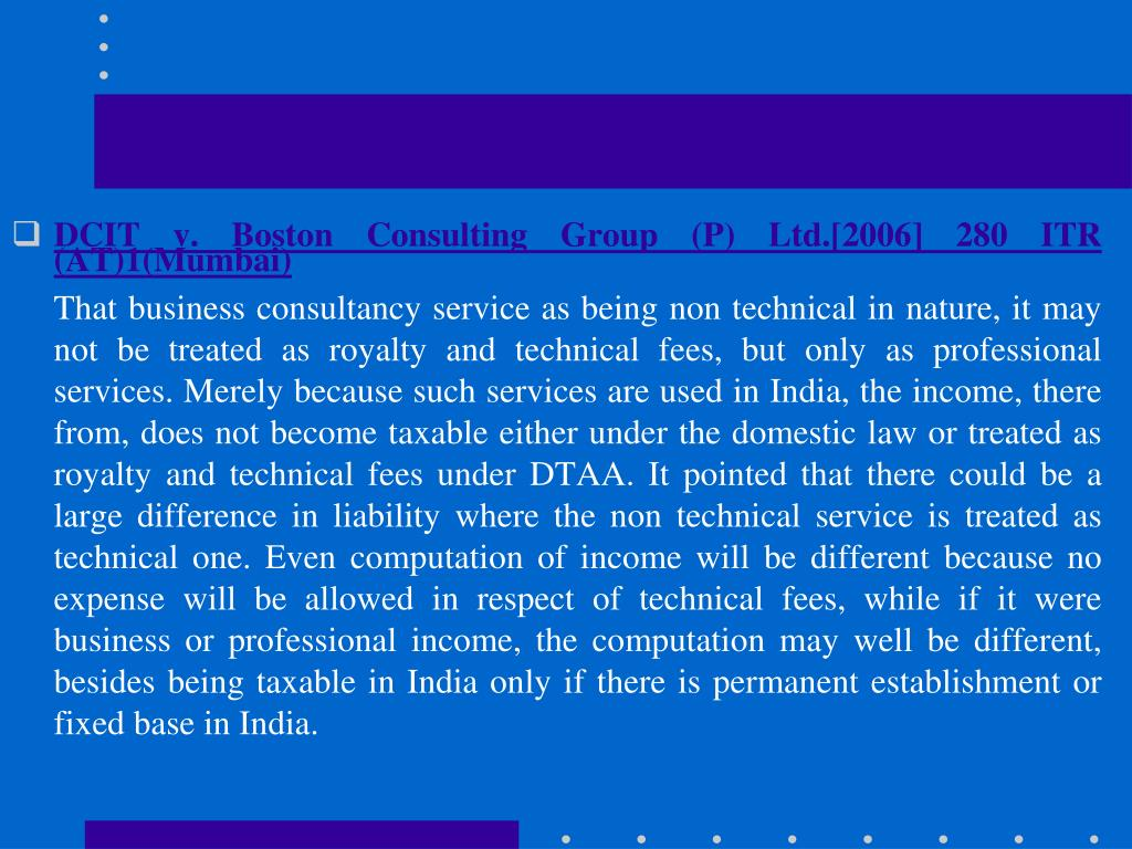 DCIT v. Boston Consulting Group (P) Ltd.[2006] 280 ITR (AT)1(Mumbai)