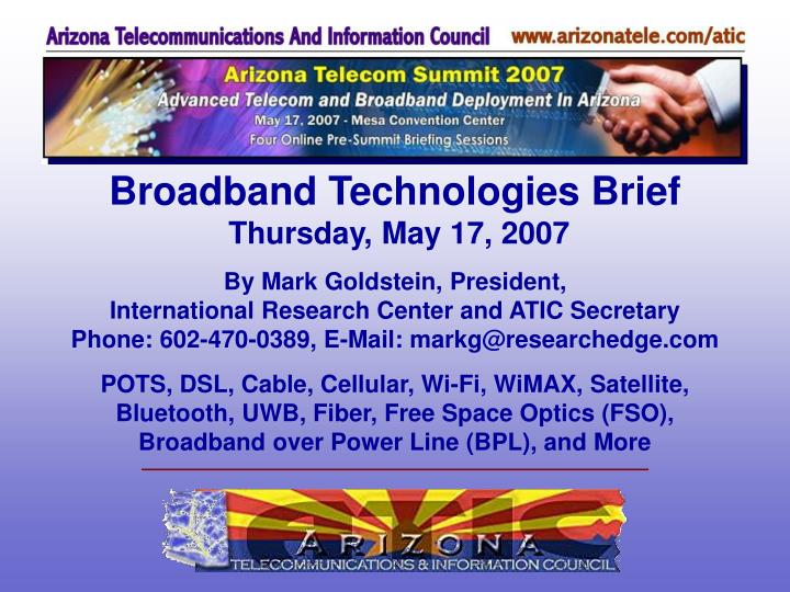 Broadband Technologies Brief