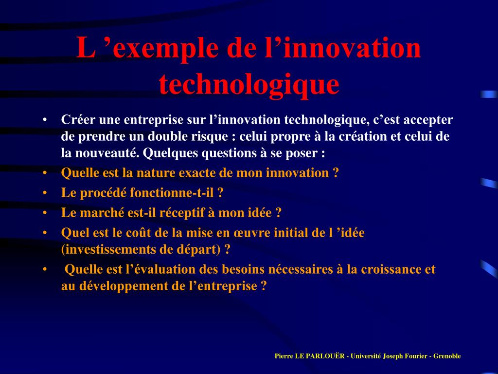 L 'exemple de l'innovation technologique