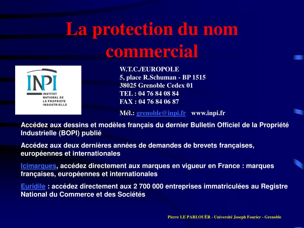 La protection du nom commercial