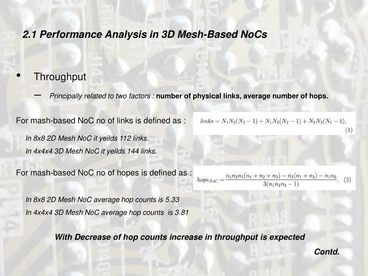 2.1 Performance Analysis in 3D Mesh-Based NoCs