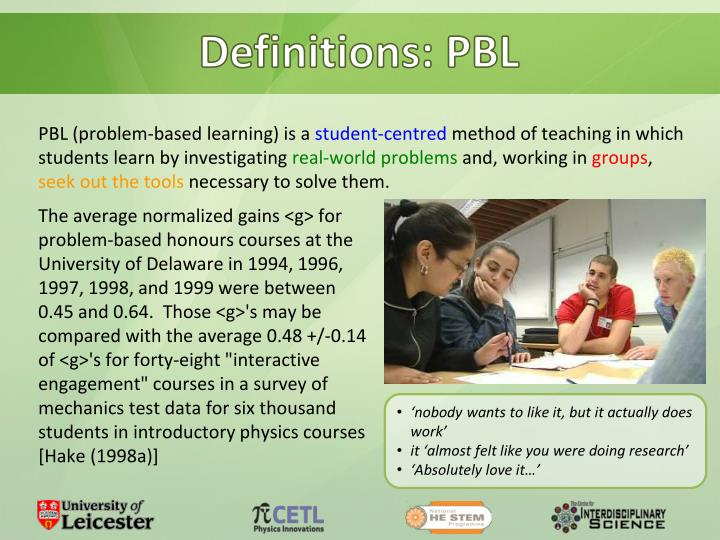 Definitions: PBL