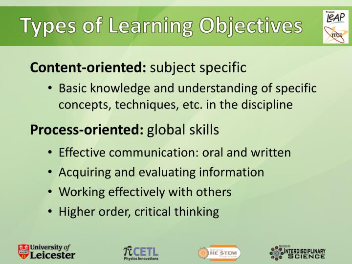 Types of Learning Objectives