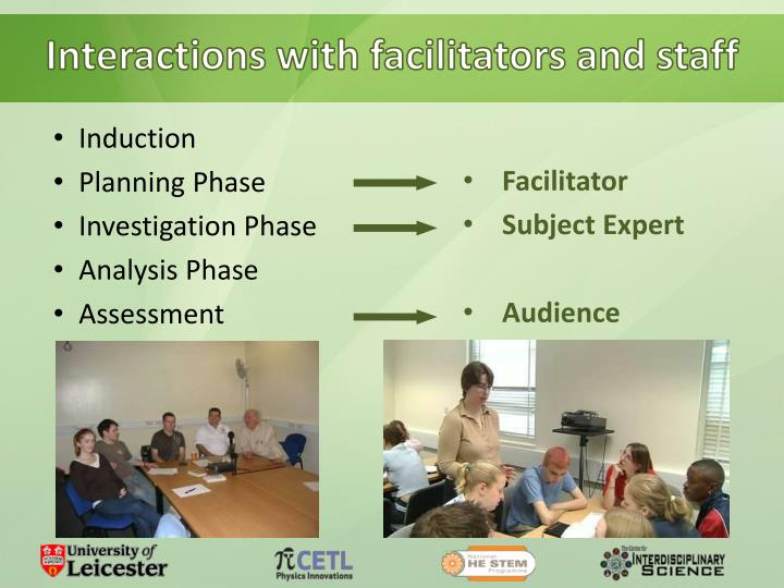 Interactions with facilitators and staff