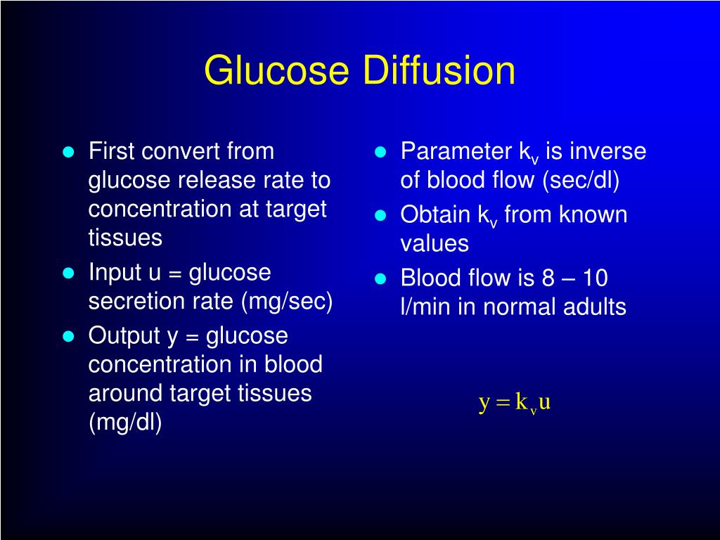First convert from glucose release rate to concentration at target tissues