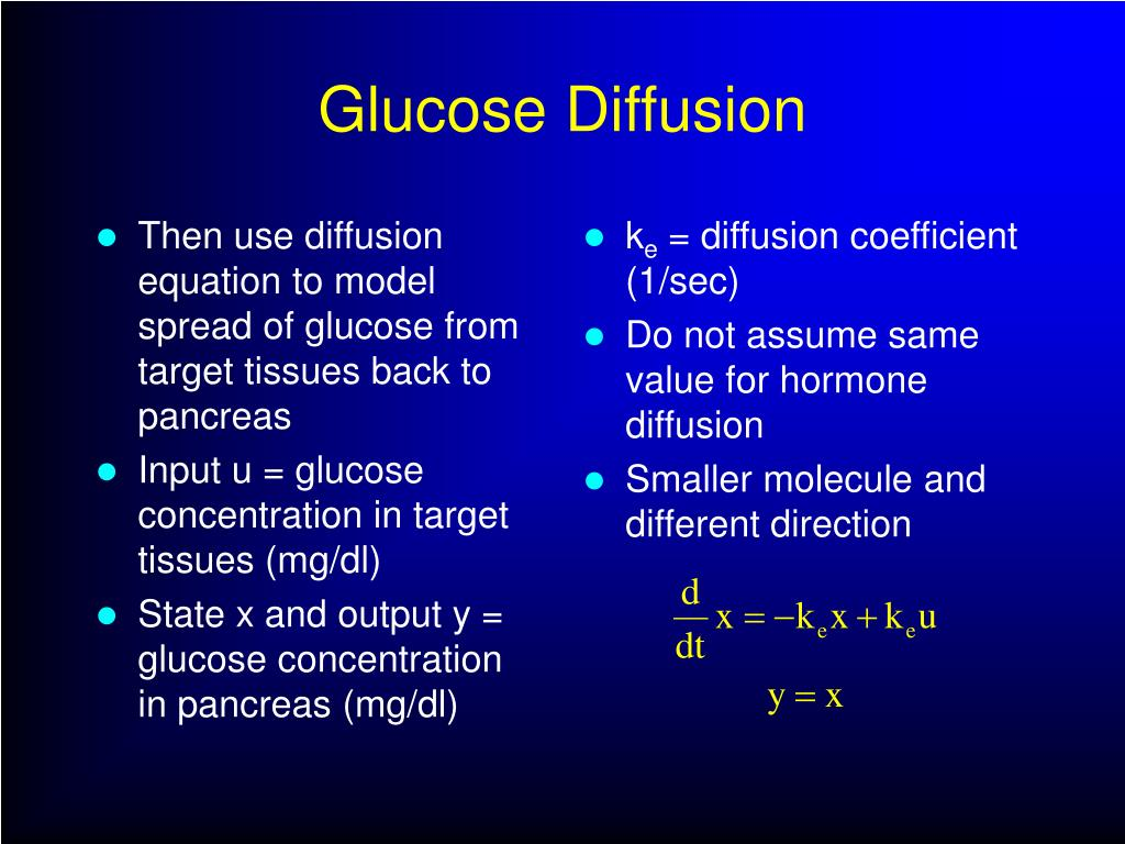Then use diffusion equation to model spread of glucose from target tissues back to pancreas