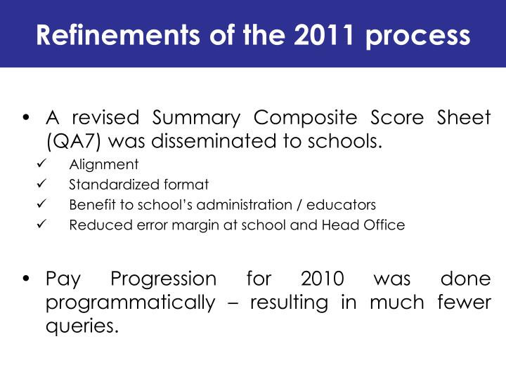 Refinements of the 2011 process