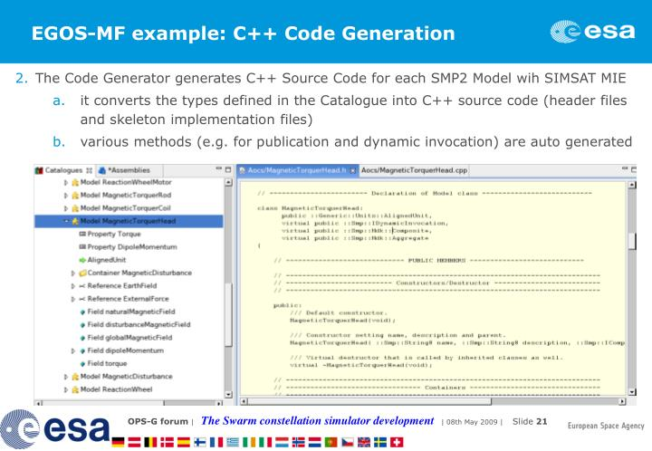 EGOS-MF example: C++ Code Generation