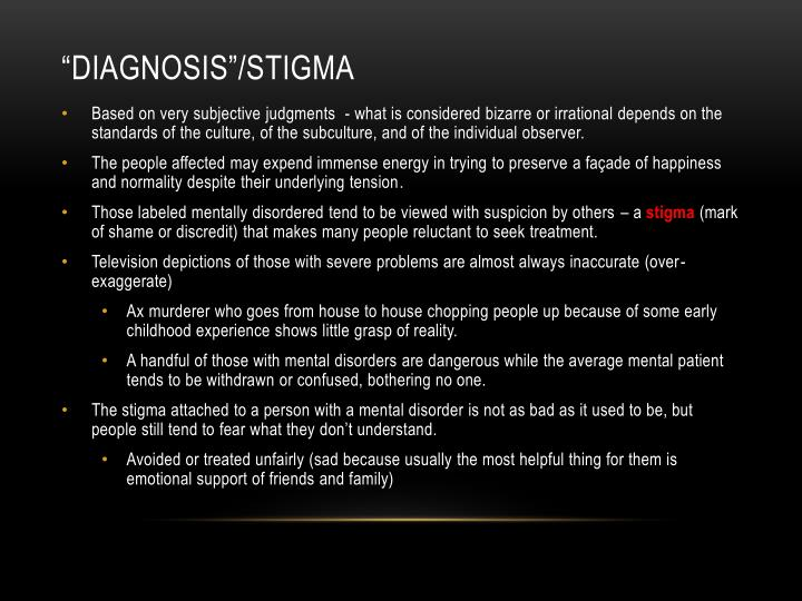 """Diagnosis""/Stigma"