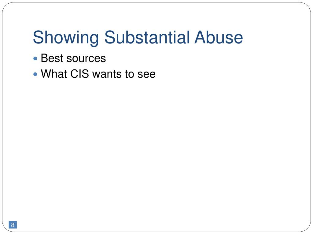 Showing Substantial Abuse