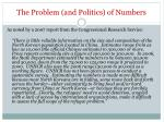 the problem and politics of numbers