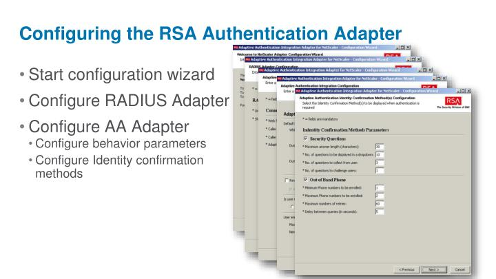 Configuring the RSA Authentication Adapter