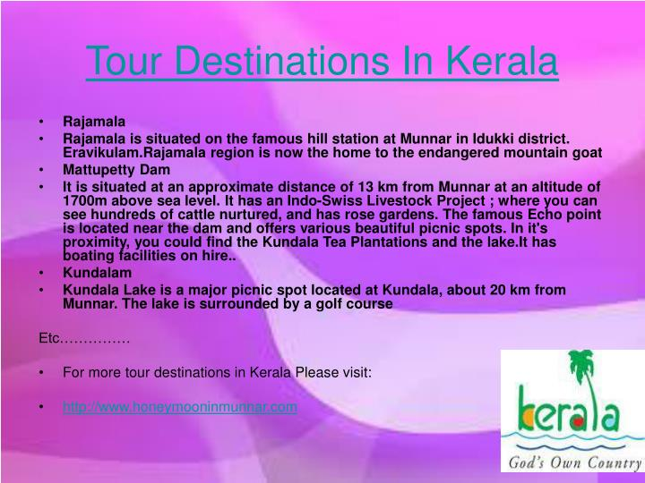 Tour Destinations In Kerala